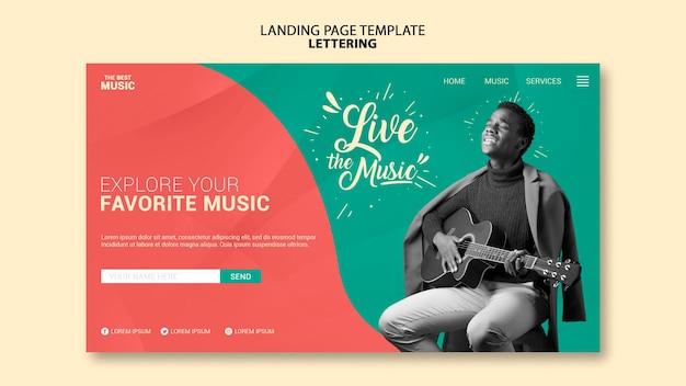Modelo de página de destino de música