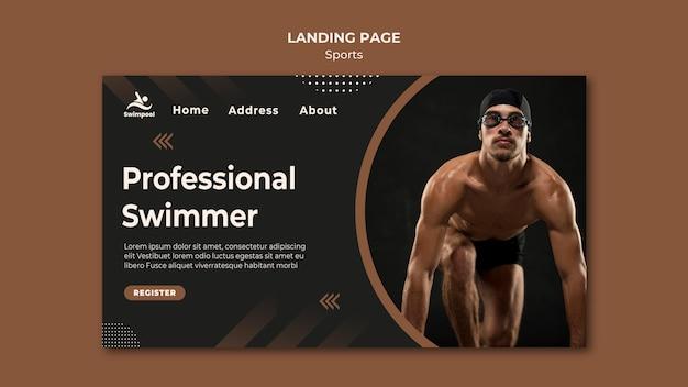 Modelo de página de destino de nadador profissional