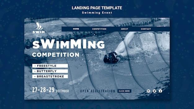 Modelo de página de destino de natação