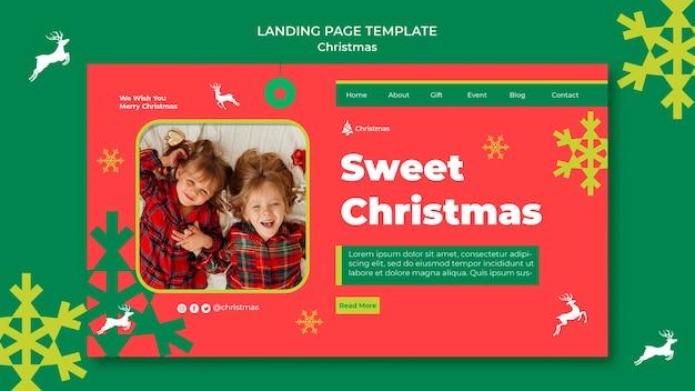 Modelo de página de destino de natal festivo