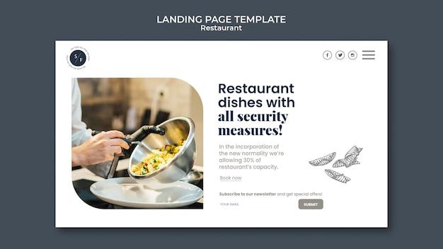 Modelo de página de destino de negócios de restaurante