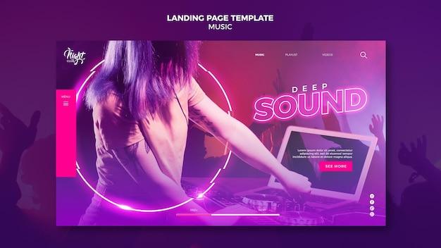 Modelo de página de destino de néon para música eletrônica com dj feminina Psd grátis