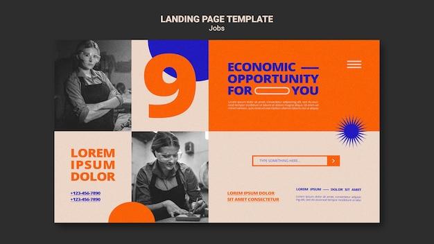 Modelo de página de destino de oportunidade de trabalho