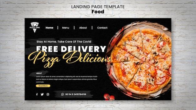 Modelo de página de destino de pizza deliciosa