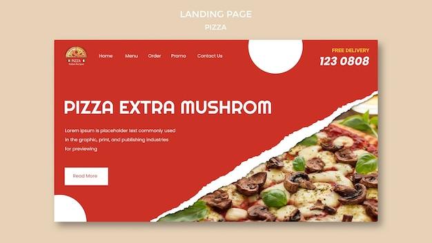 Modelo de página de destino de pizzaria
