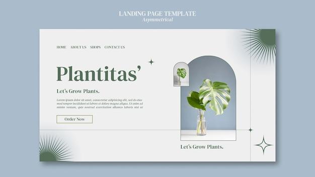 Modelo de página de destino de plantas em crescimento