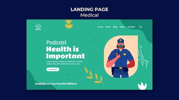 Modelo de página de destino de podcast de saúde