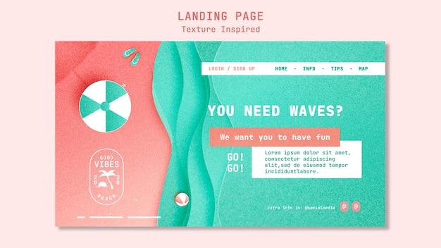 Modelo de página de destino de praia texturizada