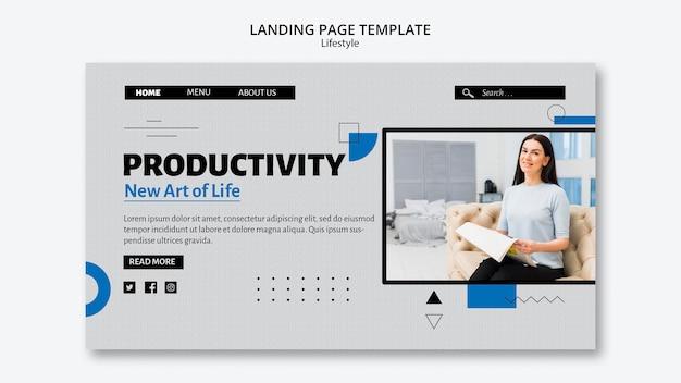 Modelo de página de destino de produtividade de estilo de vida