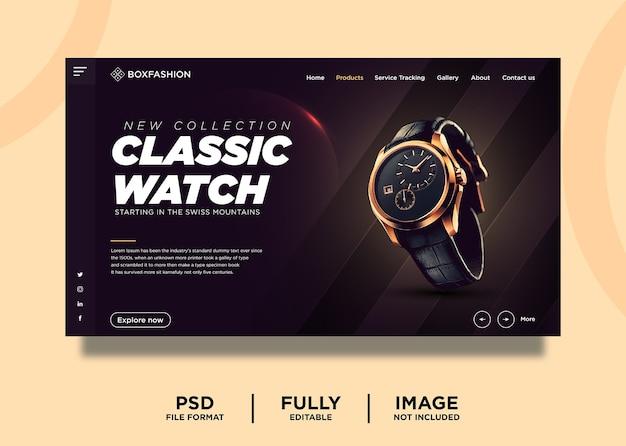 Modelo de página de destino de produto de marca de relógio clássico em laranja escuro