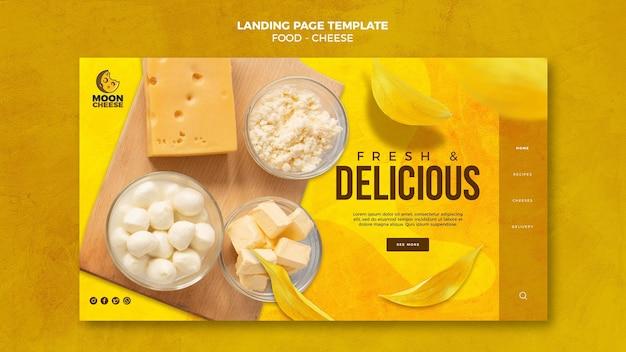 Modelo de página de destino de queijo delicioso