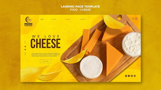 Modelo de página de destino de queijo saboroso