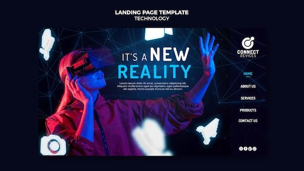 Modelo de página de destino de realidade virtual futurista