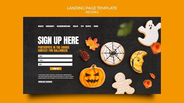 Modelo de página de destino de receita de outono