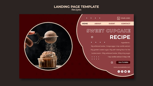 Modelo de página de destino de receitas de sobremesas