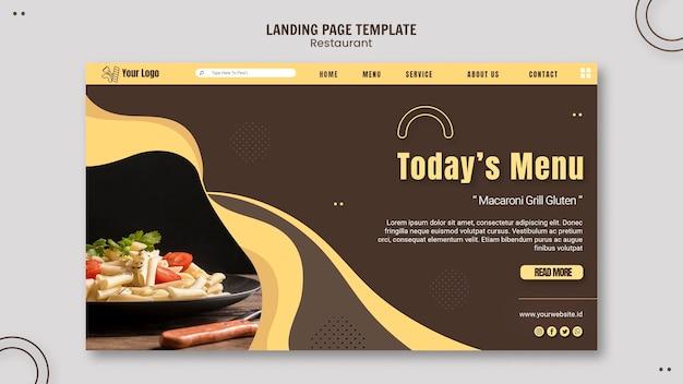 Modelo de página de destino de restaurante de massas