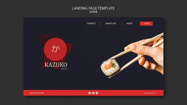 Modelo de página de destino de restaurante de sushi
