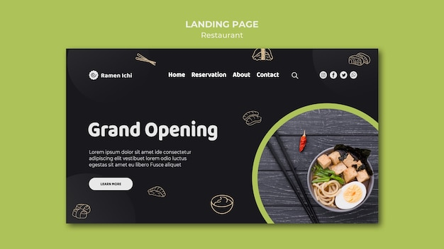 Modelo de página de destino de restaurante delicioso ramen