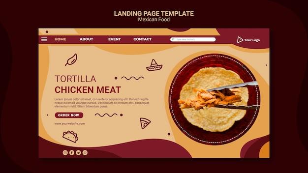 Modelo de página de destino de restaurante mexicano