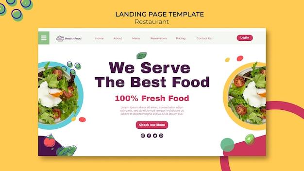 Modelo de página de destino de restaurante