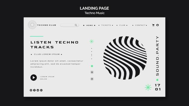 Modelo de página de destino de resumo de festival de música techno