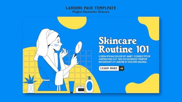 Modelo de página de destino de rotina de cuidados com a pele