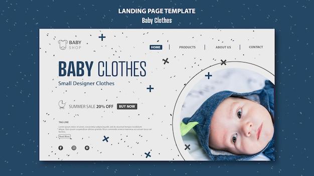 Modelo de página de destino de roupas de bebê