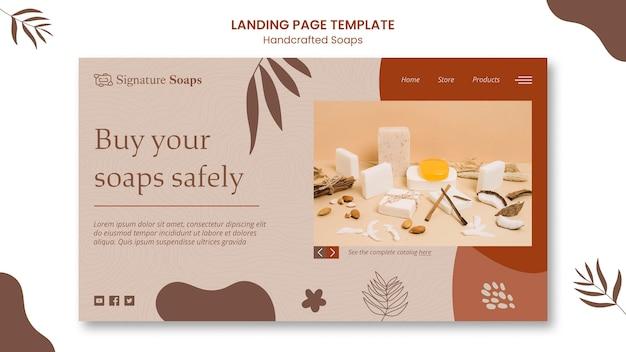 Modelo de página de destino de sabonete caseiro