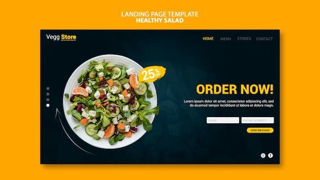Modelo de página de destino de salada saudável