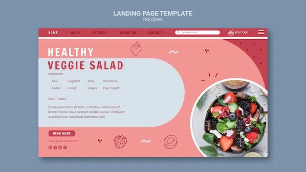 Modelo de página de destino de salada vegetariana saudável