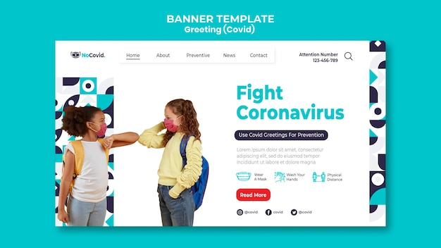 Modelo de página de destino de saudações do coronavirus com foto