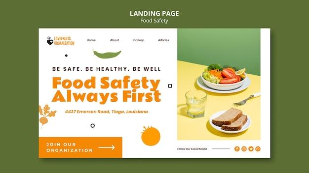 Modelo de página de destino de segurança alimentar