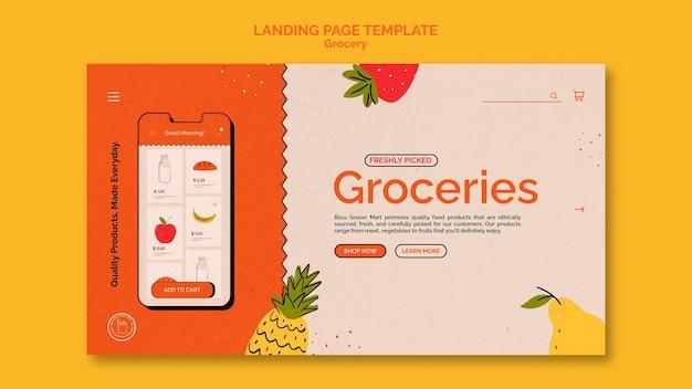Modelo de página de destino de serviço de entrega de supermercado