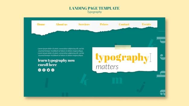 Modelo de página de destino de serviço de tipografia