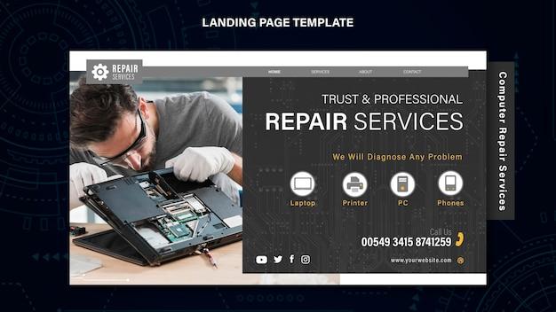 Modelo de página de destino de serviços de reparo