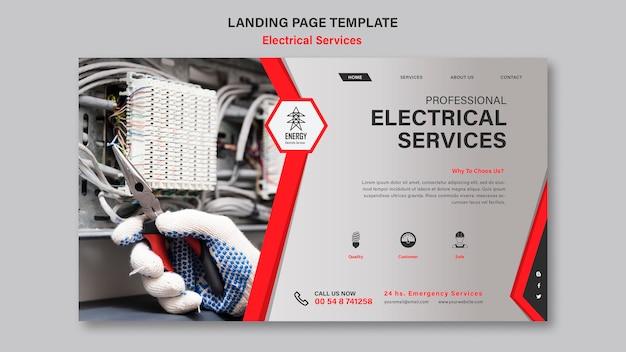 Modelo de página de destino de serviços elétricos