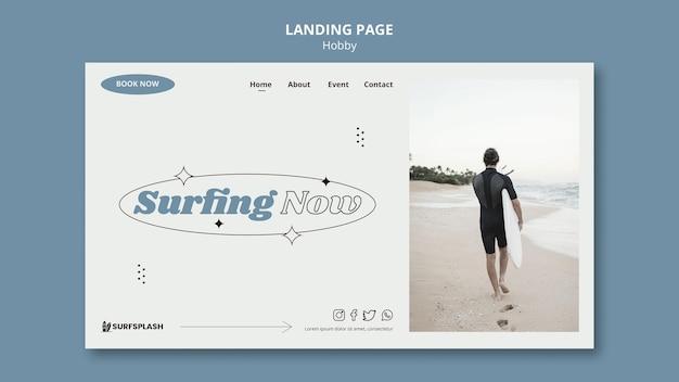 Modelo de página de destino de splash e surf