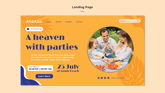 Modelo de página de destino de streaming ao vivo para festas Psd Premium