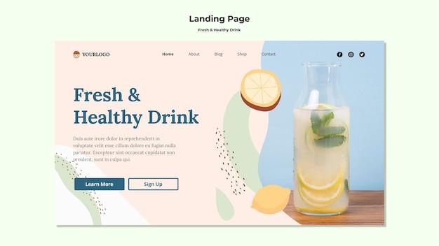Modelo de página de destino de suco de fruta