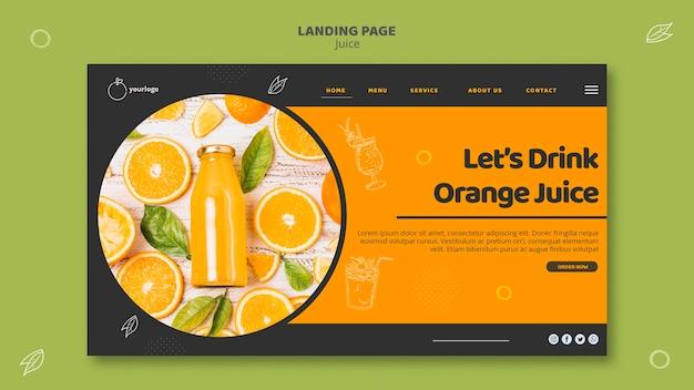 Modelo de página de destino de suco de laranja