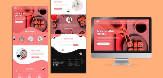 Modelo de página de destino de sushi delicioso