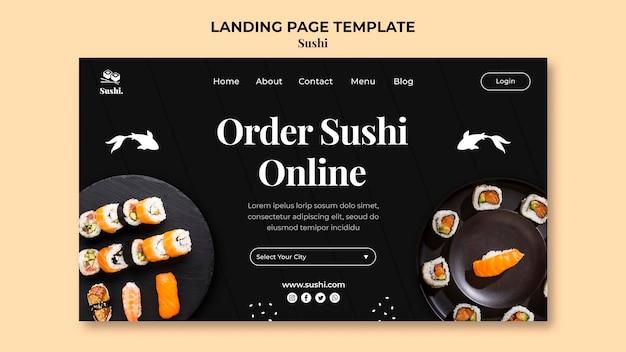 Modelo de página de destino de sushi