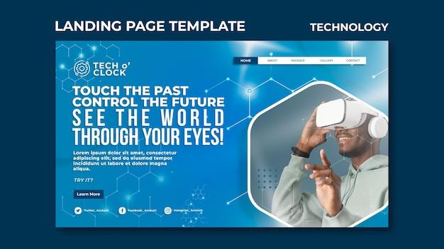 Modelo de página de destino de tecnologia