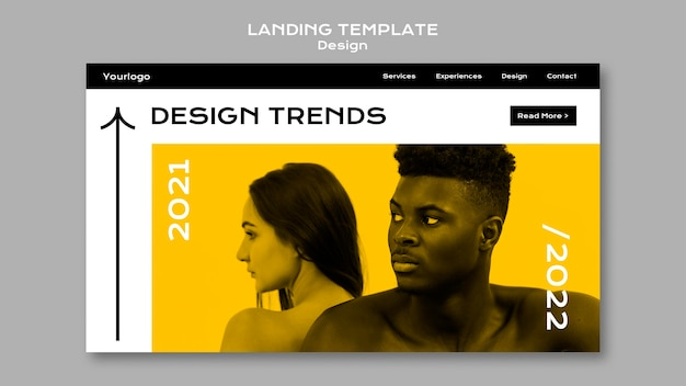 Modelo de página de destino de tendências de design
