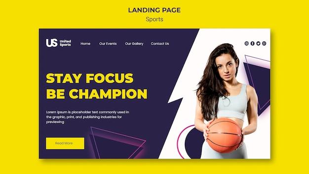 Modelo de página de destino de torneio de basquete