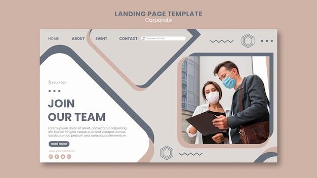 Modelo de página de destino de trabalho em equipe