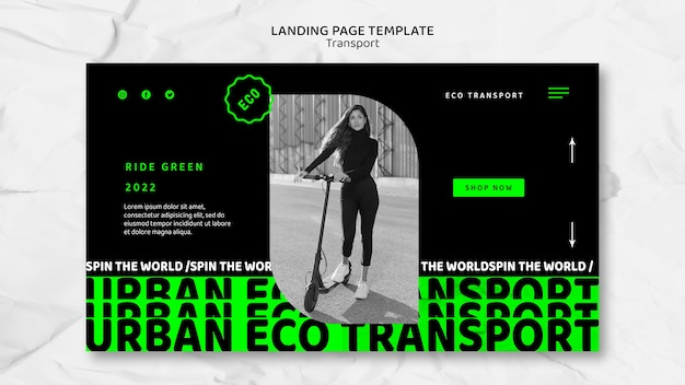 Modelo de página de destino de transporte ecológico