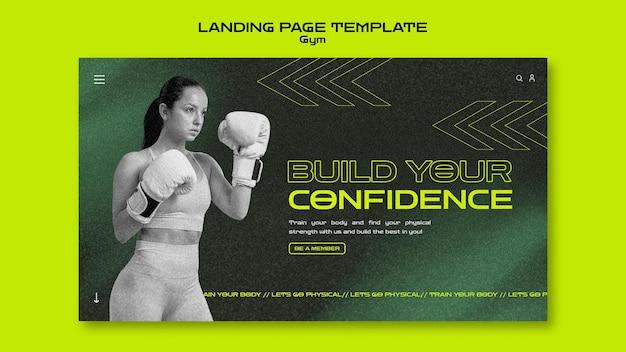 Modelo de página de destino de treinamento de ginástica