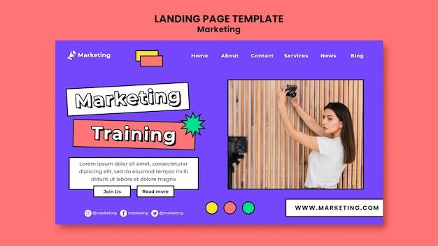 Modelo de página de destino de treinamento de marketing