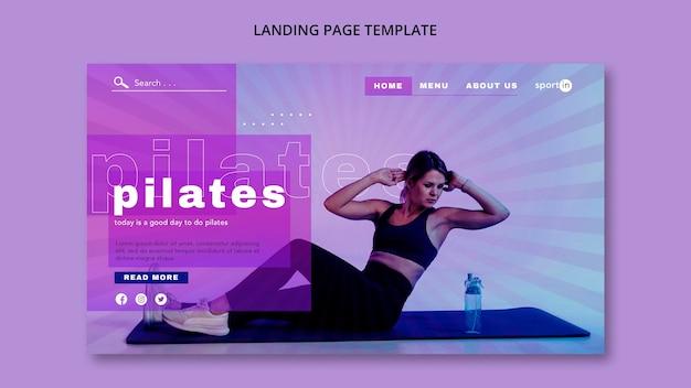 Modelo de página de destino de treinamento de pilates